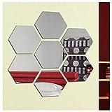 Hioffer(ハイオフア) DIY アート 現代芸術 おしゃれ 六角形 シルバー ミラー ウォールステッカー インテリア 鏡効果 ホームデコレーション 壁貼りシール 幾何 アクリル 割れない鏡 インテリ 12.6*11*6cm 7枚入