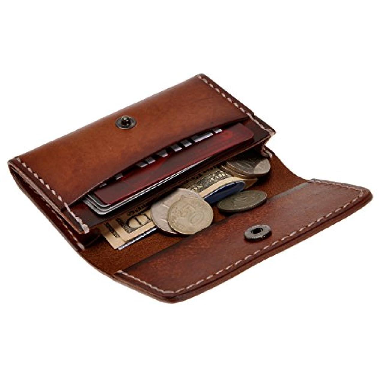 組み合わせるログマイクロZLYC手作り 財布 スリム カード入れ コインパース ベジタブルタンニンなめし メンズ レディース