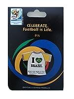 2010FIFAワールドカップ南アフリカピンラペル襟バッジI Loveブラジル) Collectible Memorabilia