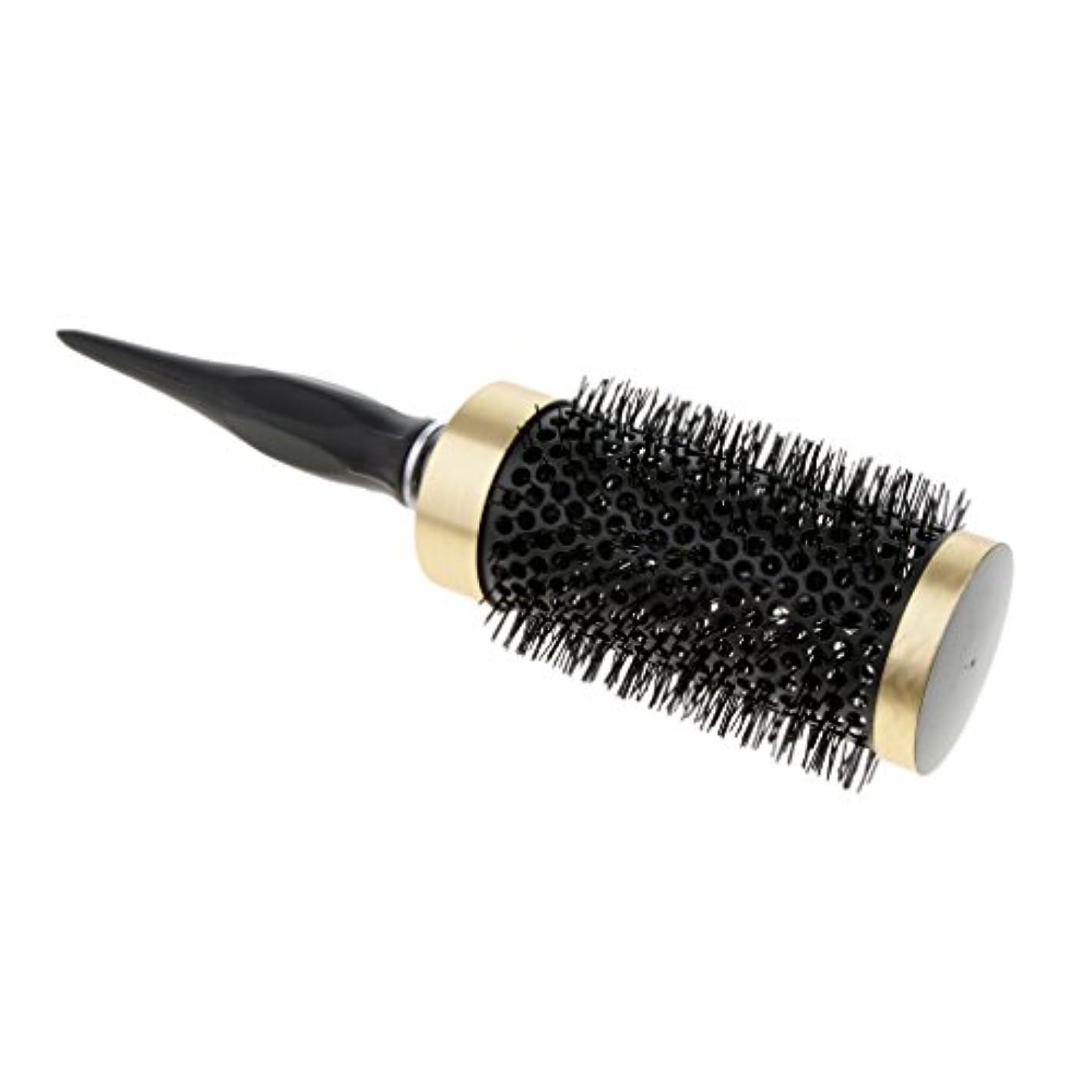 溝同封する電気的Perfk ロールブラシ ヘアブラシ ナイロンブラシ 静電気防止  カーリング 巻き髪ヘア 全5サイズ - 52mm