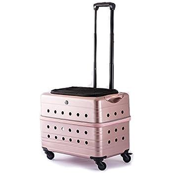 (ルイアンドアグリ)RUI&AGURI ペットキャリー ハードケース キャスター付き スーツケース 犬 猫 兼用 お出かけ 旅行用 キャリーケース (ME129) (2匹用, ピンク)