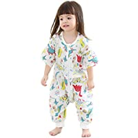 Baby Sleep Sack withフィート夏 – Muslin Wearable Blanket with脚幼児用、初期のウォーカーSleeping Bag with Half Sleeve 0.5 Tog 18-36 Months ブルー 80
