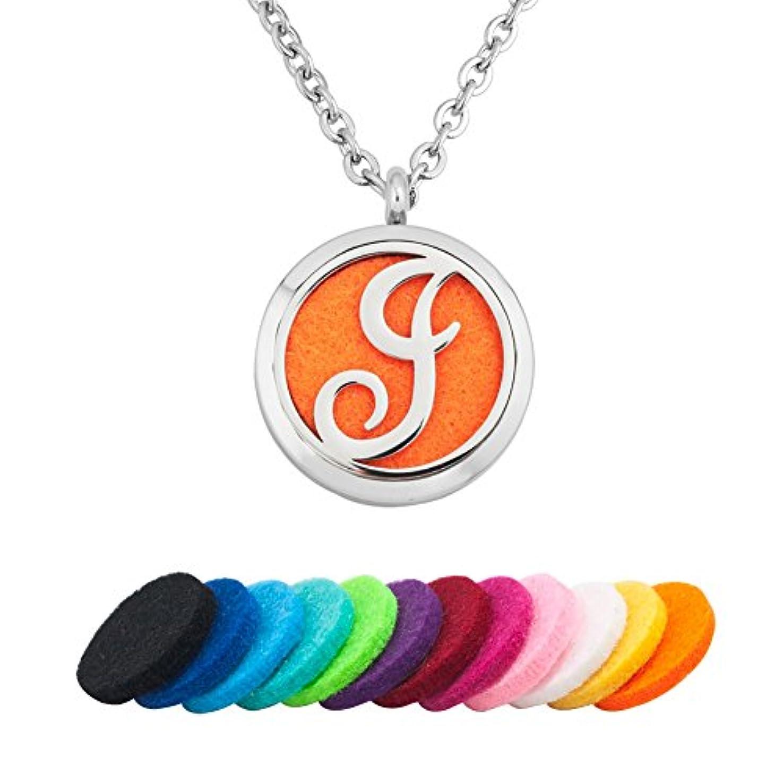 対立貸す少年shinyjewelry Aromatherapy Essential Oil DiffuserネックレスA - Z手紙アルファベットラウンドロケットペンダント12色Refill Pads