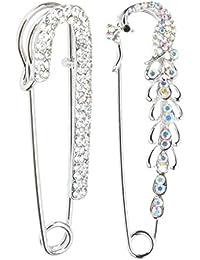 Dovewill 合金製 ブローチ ピン エレガント 女性 スカーフ 人気 2本入り 全2パターン選べ  - 銀
