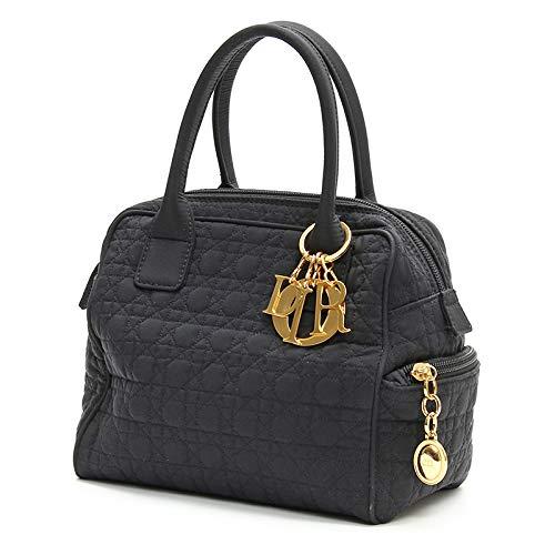 [クリスチャンディオール]Christian Dior レディディオール カナージュ ハンドバッグ ミニ ボストン ブラック ゴールド金具 カナージュナイロン 中古