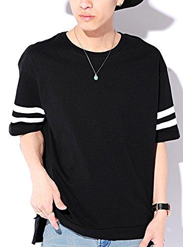 ブラック M (ベストマート)BestMart コットン 100% ビッグシルエット ライン 入り 無地 半袖 ゆる Tシャツ メンズ スリット 綿 ゆったり カットソー BIG ビック ワイド クルーネック Uネック ティーシャツ 半そで 半袖Tシャツ 622392-005-001