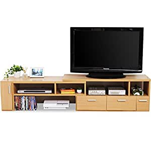 テレビ台 テレビボード 伸縮 角度自由 コーナー ローボード 50インチ対応 木製 109cm~198cm ナチュラル