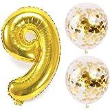 お誕生日パーティー 風船 飾り付け バルーンx2 数字(9)バルーン ゴールドx1 風船セット(QQ-009)