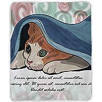 AOMOKI 毛布 シングル マイクロファイバー ひざ掛け 冷房/防寒対策 2枚合わせ 洗える 暖かい 保温 130x150cm 猫柄 可愛い猫