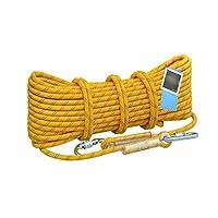 クライミングロープ、アウトドアスタティックロッククライミングロープ、直径10。5 Mm Carabinerストラップ付き火災安全救助、(10 m、20 m、30 m) (Color : Yellow(10.5mm), Size : 20m)