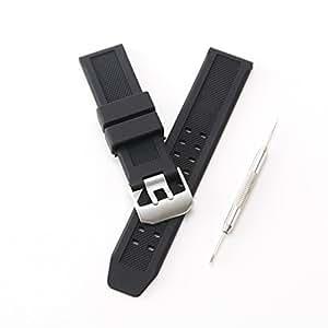 ルミノックス 純正バンド互換品 シリコン 腕時計用 ラバーバンド 取付幅23mm [シルバー]