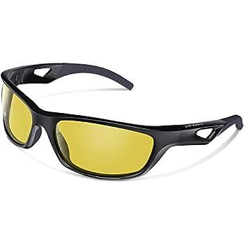 WOOLIKE スポーツサングラス 偏光サングラス UV400 紫外線カット サイクリング/ジョギング/自転車/運転/釣り/野球/テニス/スキー/ランニング/ゴルフ/マラソン W823 (ブラック&イエロー)