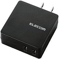 エレコム 充電器 ACアダプター 【iPhone & Android & IQOS & glo 対応】 折畳式プラグ USBポート×2 (2A出力) 急速充電 ブラック MPA-ACUCN005BK
