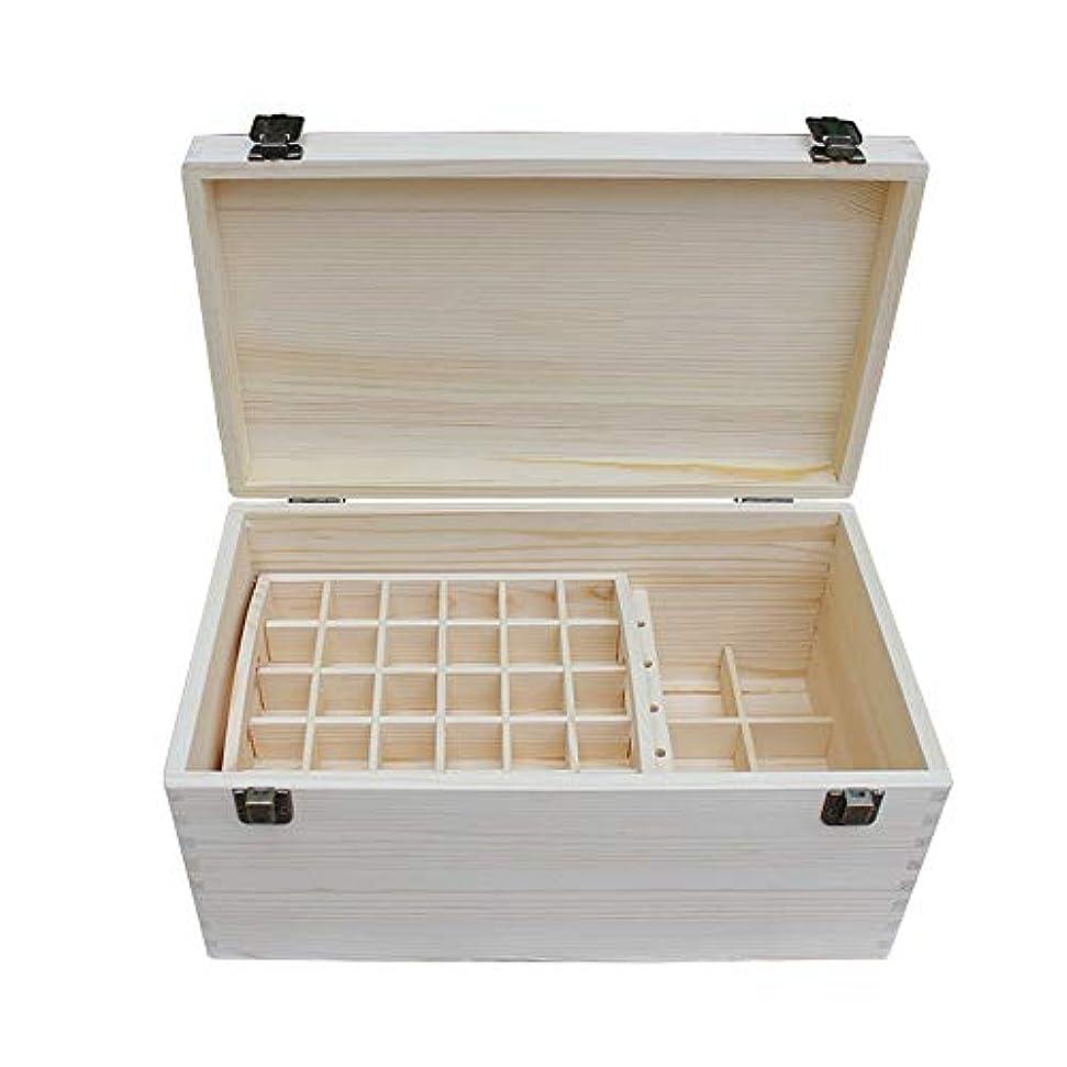 エッセンシャルオイルボックス 大型石油貯蔵マルチディスク管理天然精油松ボックスの66本のボトル アロマセラピー収納ボックス (色 : Natural, サイズ : 35.3X20.3X17CM)