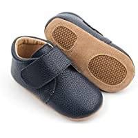 Alex - Australian Designed, Slip-On Velcro Fastening First-Walker Boys or Girls Classic Casual Style Boots for Babies & Toddlers, Midnight Blue, 100% Natural Genuine Leather
