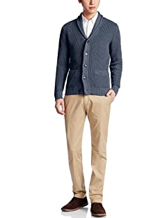 5-gauge Cotton Shawl Collar Cardigan 3228-130-0183: Navy