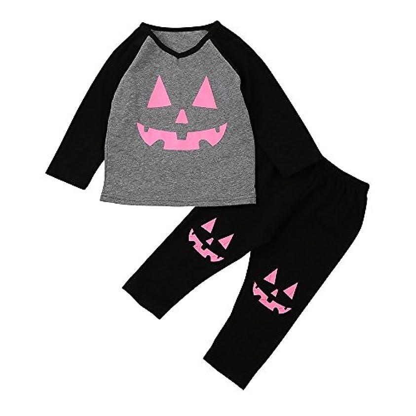 岩骨落ち込んでいるKarchi 幼児 ハロウィーンの衣装セット 幼児 赤ちゃん パンプキンパッチTシャツトップス+パンツ (110, 黒+灰色)