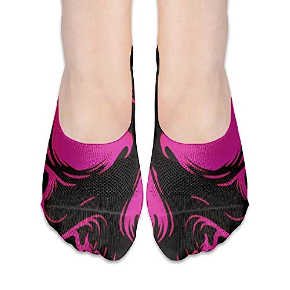 はっきりしないハドル無実女性カジュアルピンクスカルローカットソックス滑り止めアスレチックソックス