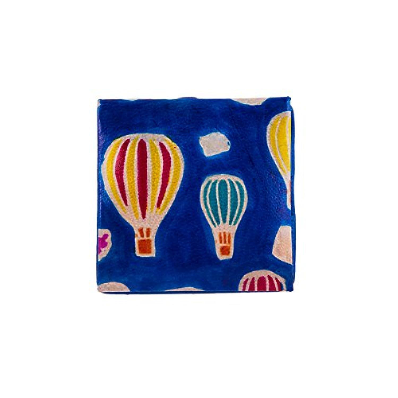 山羊革 コインケース 気球柄/青【第3世界ショップ】