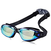 Swim Goggles, swimming Goggles No Leaking Anti Fog Uv Protection Triathlon Swim Goggles with Free Protection Case for Adult Men Women Youth Kids Child-Colorful Black