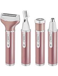 ヘアトリマーキットヘア脱毛器痛みのない電気コードレスボディヘアシェーバー、ヘアトリマー防水かみそり、ビキニの毛の取り外しおよび眉毛トリマーのために再充電可能な1つのUSBに付き女性4つ, Pink