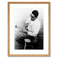 Music Vintage Portrait Dizzy Gillespie Trumpet Legend Framed Wall Art Print 音楽ビンテージポートレート伝説壁