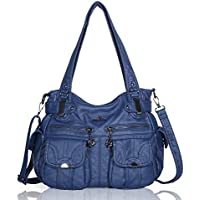 Angelkiss Women's Handbag Large Double Zipper Multi Pocket Washed Shoulder bag Designer Handbags for Women