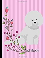 Notebook: Bichon Frise Dog School Composition Notebook 100 Pages Wide Ruled Lined Paper Pink Flowers