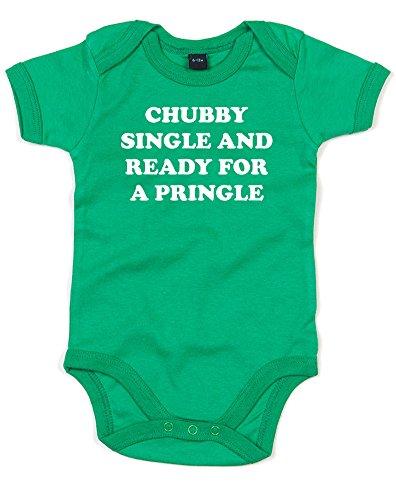 (デブなシングルはいつでもプリングル。) Chubby Single And Ready For A Pringle, プリント ベビースーツ - グリーン/白 12-18 ヶ月