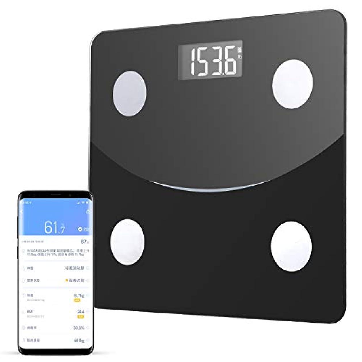 リーク汚れる敬体重計 体組成計 体脂肪計 Bluetooth スマホ対応  体脂肪率やBMI/体重/基礎代謝など測定できる ダイエットや健康管理に役立つ 収納便利 180 kgまで 日本語説明書付き (ブラック)
