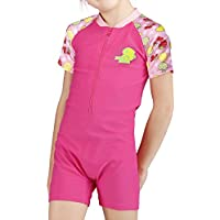 Karrack Girls Fashion one Piece Swimsuits Short Sleeve Sun Suits Size 102468 Red