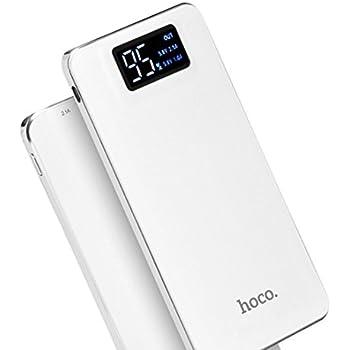 hoco. モバイルバッテリー 10000mAh 2USBポート スマホ充電器 LEDライト付 iphone/ipad/Android対応 (ホワイト)