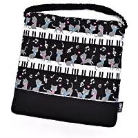 ざぶとん キルティング 学童クッション ピアノの上で踊る黒猫ワルツ(ブラック) N3861300