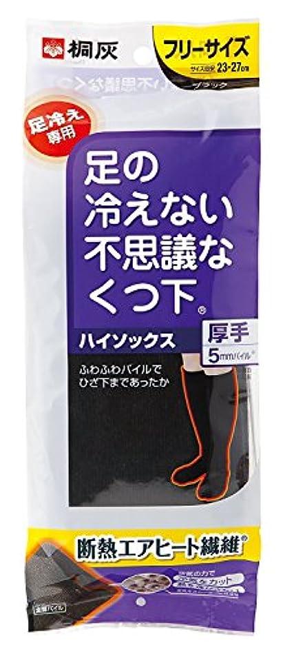 トチの実の木電気爆発物桐灰化学 足の冷えない不思議なくつ下 ハイソックス 厚手 足冷え専用 フリーサイズ 黒色 1足分(2個入)