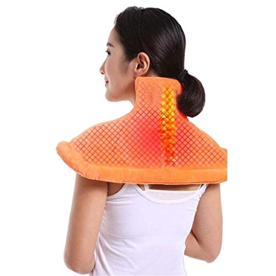 控えめな松実行可能首のマッサージャー、電熱パッド、首と肩と背中の痛みを和らげるツール、ストレス緩和筋肉温熱療法パッド