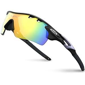RIVBOS(リバッズ)RBK0801スポーツサングラス TRフレーム 偏光レンズ 5枚専用交換レンズ付き メンズ レディース ユニセックス サイクリングサングラス UVカット 軽量 ランニングサングラス サイクリング アイウェア (バージョンアップ版ブラック)