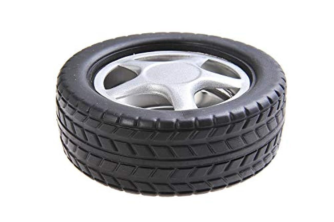 おばあさんペースト罰ステンレススチールとプラスチック製の車のタイヤの形状で量子そろばんラウンド灰皿、