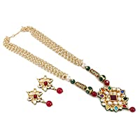 Aradhya Designer High Quality Onyx Beads and Kundan Necklace with Earrings for Women and Girls