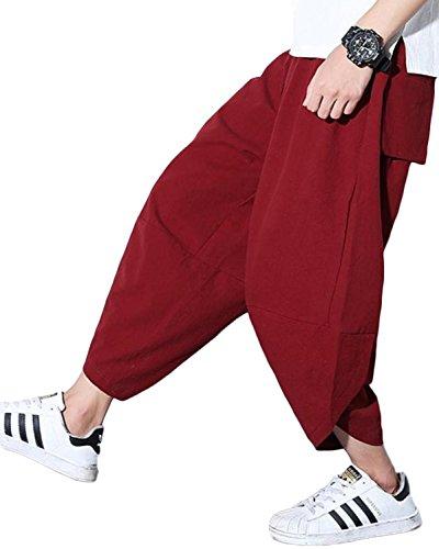 (リザウンド)ReSOUND メンズ 九分丈 クロップド サルエル パンツ レッド XL なつ服 リラックス 爽やか 大きい サイズ きれいめ 7部丈 大きめ 服 ふく コットン むじ アサ ヨガ 太め 日本 夏服 なつ服 紳士 9分丈 赤 XL 435