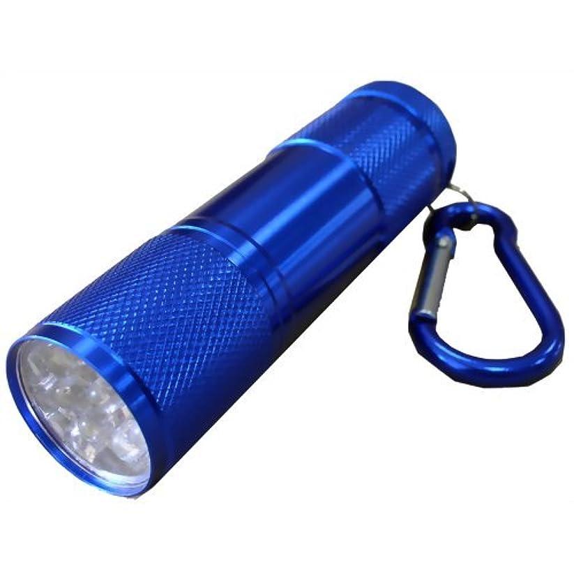 電気アラブサラボ呼ぶハンディー ライト 9 LED スーパーシャイン 生活防水 アルミ合金 カラビナ付 ブルー