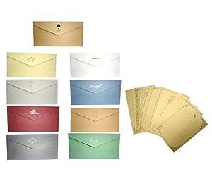[comoza] メッセージカード 封筒 つき 手紙 便箋 レターセット ロング 9色 セット (マルチカラー)