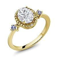 Gem Stone King 1.67カラット Forever Brilliant モアサナイト Charles & Colvard 天然石 タンザナイト 天然 ダイヤモンド シルバー925 イエローゴールドコーティング 指輪 リング