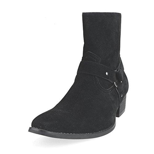 [アンバイルシウス] AN ショートブーツ メンズ リングブーツ サイドゴアブーツ ジョッパーブーツ プレーントゥ フェイクスエード フェイクスウェード ハイヒール ブーツ カジュアルシューズ ドレスシューズ ブラック 黒 S(25.0~25.5cm)