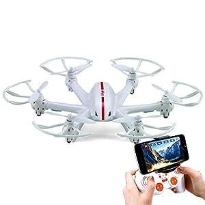 きくばり NEW 動画あり マルチコプター カメラ搭載 生中継 空からの眺め 撮影 ドローン 6枚羽根 ラジコン ヘリ ヘキサコプター 宙返り 3D 飛行 6軸ジャイロセンサー 空撮 iPhone KB-X800 ホワイト