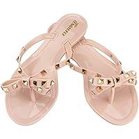 Tengyu Women's Rivets Bowtie Flip Flops Jelly Thong Sandal Rubber Flat Summer Beach Rain Shoes (US6.5=EU38=24CM Pink Beige)