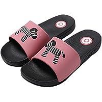 Summer Zebra Print Slippers Bathroom Anti-Slip Family Couple Slippers, Dark Pink
