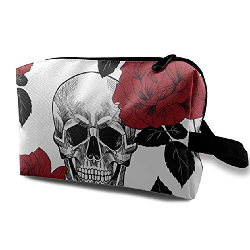目覚めるモーション冊子Skull Red Rose 収納ポーチ 化粧ポーチ 大容量 軽量 耐久性 ハンドル付持ち運び便利。入れ 自宅?出張?旅行?アウトドア撮影などに対応。メンズ レディース トラベルグッズ