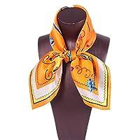スカーフ スカーフ 女性 正方形 レディース 柔らかい 快適 スカーフ シルクショール (色 : オレンジ)