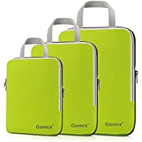 Compression Packing Cubes, Gonex Travel Organizers Upgraded 3PCS L+M+S