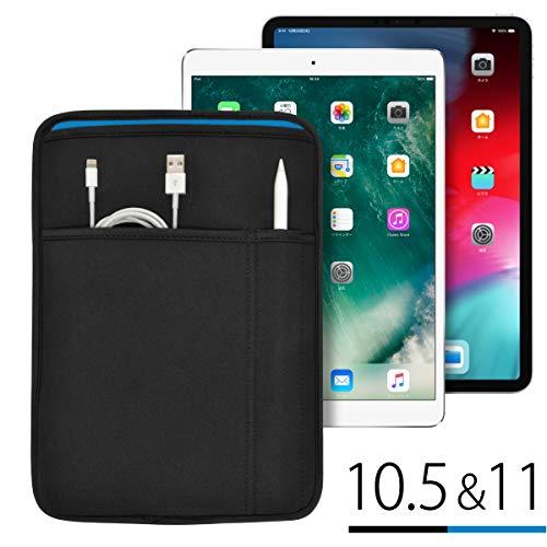 iPad Pro(11インチ&10.5インチ)用 JustFit™ スリーブケース(ブラック&ブルー) Apple Pencil&Lightningケーブルが収納出来る2つのポケット付・専用設計だからジャストフィット!